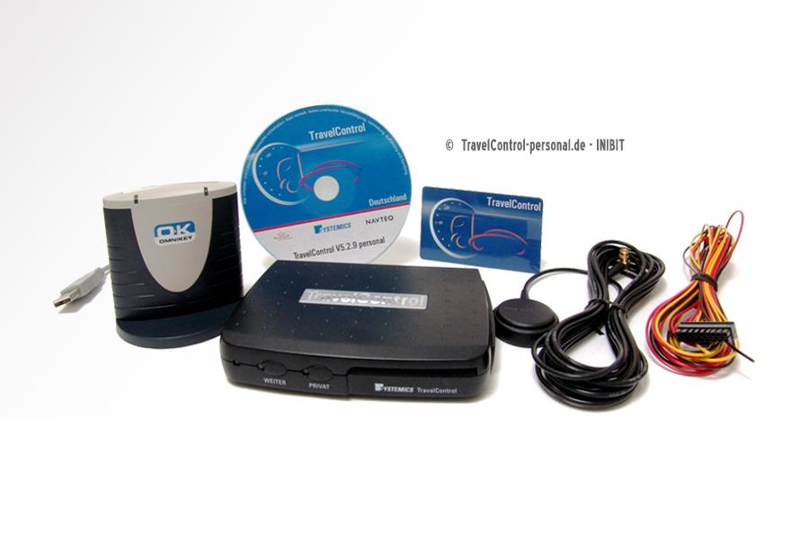 Abbildung Komplettset TravelControl personal bestehend aus Fahrzeuggerät, Halterung für Fahrzeuggerät, Anschlusskabel, GPS-Antenne, Chipkartenleser, Chipkarte und Fahrtenbuchsoftware