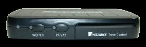 Abbildung Fahrzeuggerät TravelControl Bedienung erfolgt über 2 Tasten an der Frontseite
