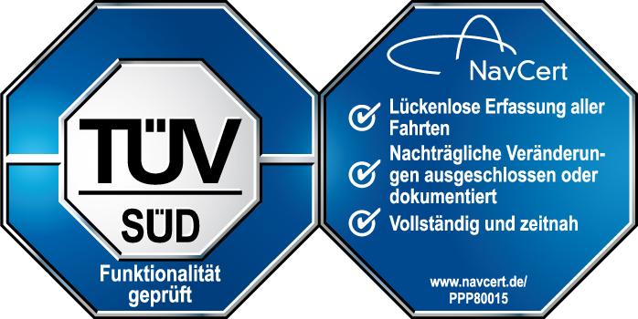 TÜV-Siegel als Bestätigung für die erfolgreiche Prüfung auf Manipulationssicherheit und die Einhaltuing der Anforderungen der Finanzbehörden