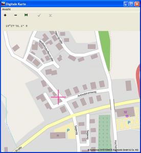 TravelControl Funktionsweise am Beispiel eines Kartenausschnitts mit blikendem Kreuz zur Darstellung des aktuellen Zieles