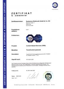 Abbildung vom TravelControl personal TÜV-Zertifikat ausgestellt vom TÜV Süd, bestätigt die Einhaltung der Anforderungen des Finanzamtes an elektronische Fahrtenbücher und sichert damit die Anerkennung durch die Finanzämter.