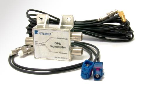 Abbildung TravelControl GPS Signalteiler FAKRA komplett mit HF-Kabeln zum Anschluss an ein werksseitig eingebautes Navigationssystem