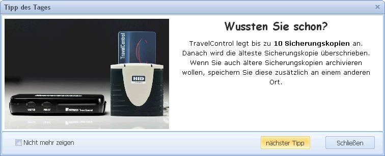 Abbildung TravelControl Software Tipp des Tages zur Unterstützung bei der Bedienung